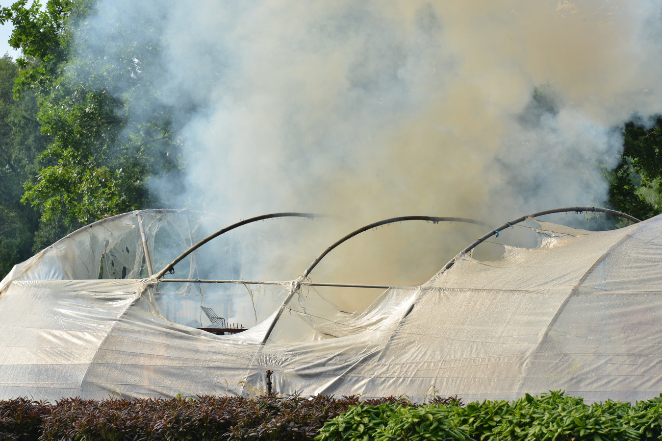 Plastic kas in brand in Rijsbergen