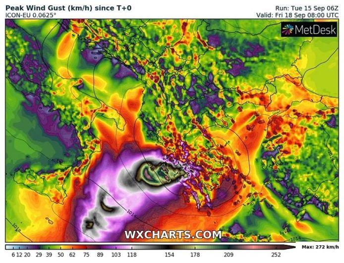 Bepaalde weermodellen berekenen windstoten tot 200 km/u voor een klein gebied in het westen van Griekenland.