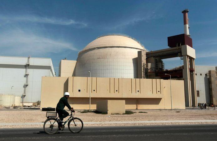 Archiefbeeld. Het reactorgebouw van de kerncentrale in de Iraanse stad Bushehr.