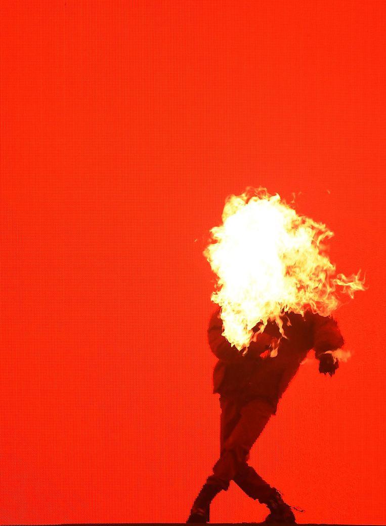G-Dragon deze zomer tijdens een optreden in New York Beeld Getty Images