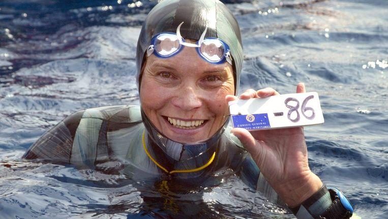 Natalia Molchanova won in 2005 het eerste wereldkampioenschap free-diving voor vrouwen in Villefranche-sur-Mer. Beeld afp