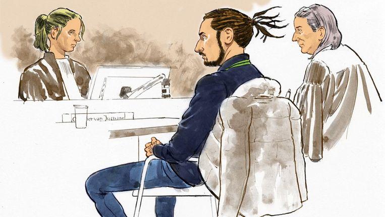 Rechtbanktekening van verdachte Tim S. Beeld anp