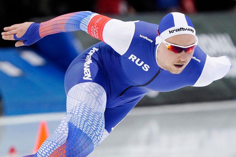Pavel Kulizhnikov tijdens de rit op de 1000 meter Heren op het WK afstanden schaatsen.  Beeld ANP