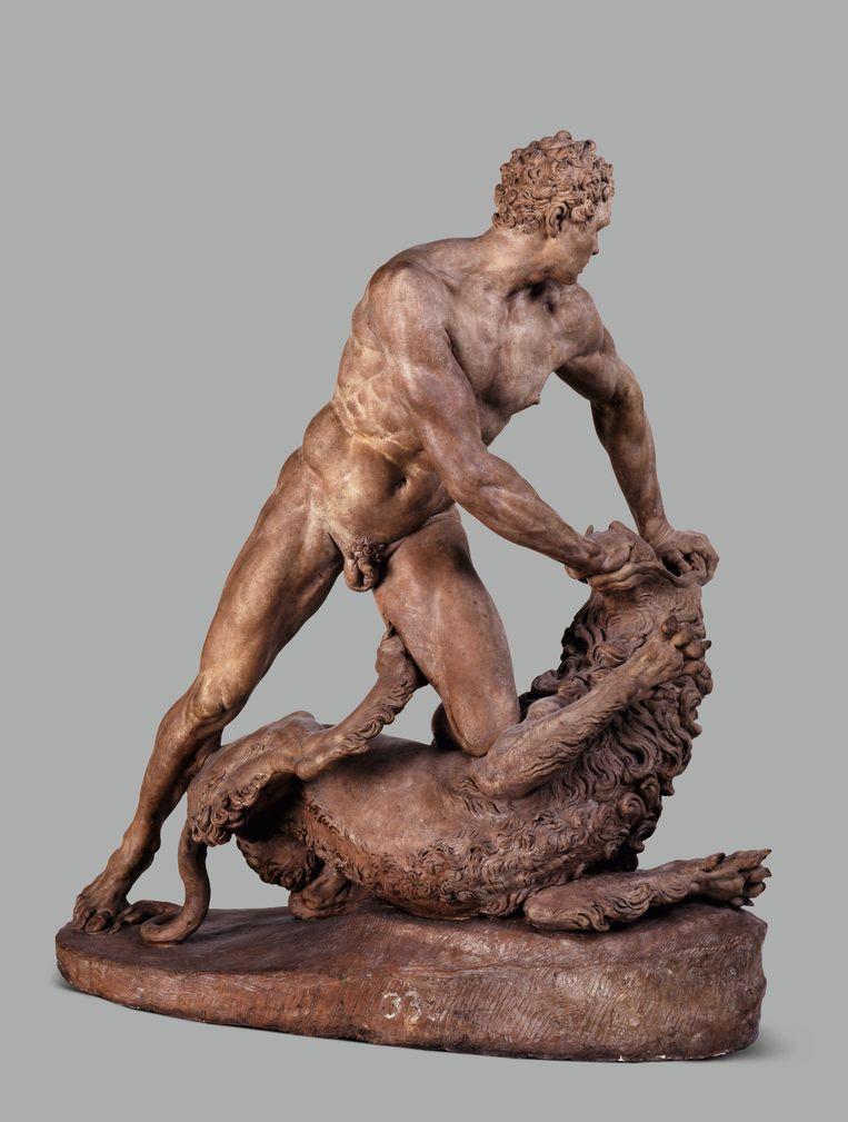 Stefano Maderno, Hercules en de Nemeïsche leeuw, 1621, terracotta, 49,5 x 54,4 cm, Galleria Franchetti alla Ca' d' Oro, Venetië.  Beeld
