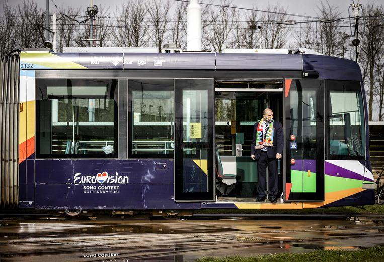 De Eurovisiesongfestivaltram in Rotterdam.  Beeld ANP Kippa