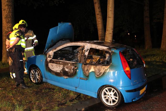 De auto aan de Parklaan begon door kortsluiting te rijden en kwam in een berm tot stilstand.