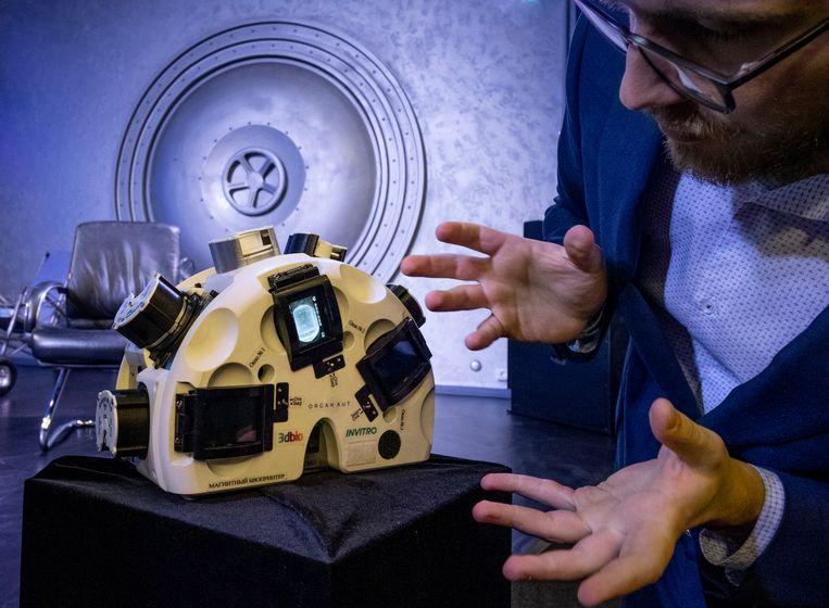 Een 3D-bioprinter van het Russische bedrijf Bioprinting Solutions. Beeld AFP