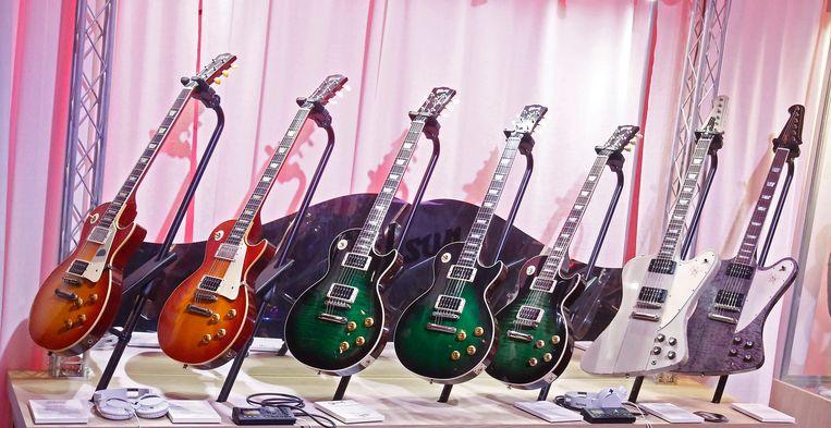 De collectie gitaren die Slash ontwierp voor Gibson. Beeld EPA
