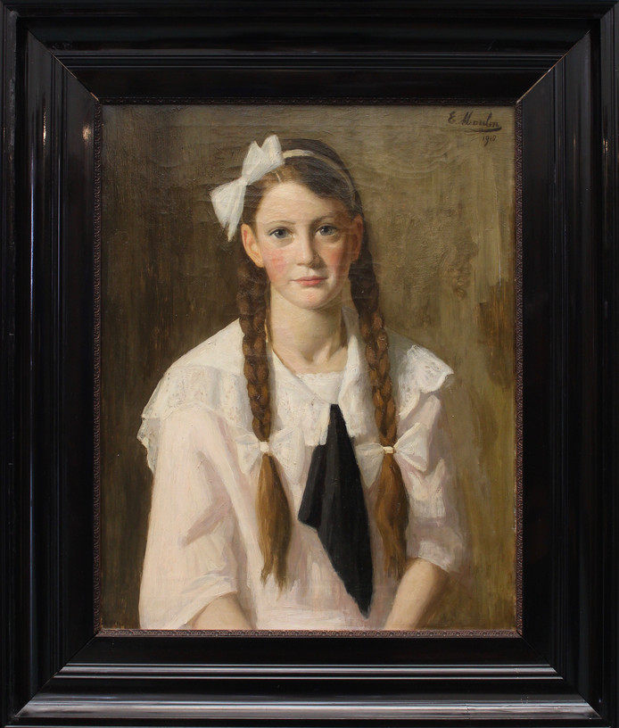 Wis die meisje? Het SNS Historisch Centrum in Kampen wil graag weten wie de jonge vrouw is die schilder Emile Moulin (1875-1938) portretteerde.
