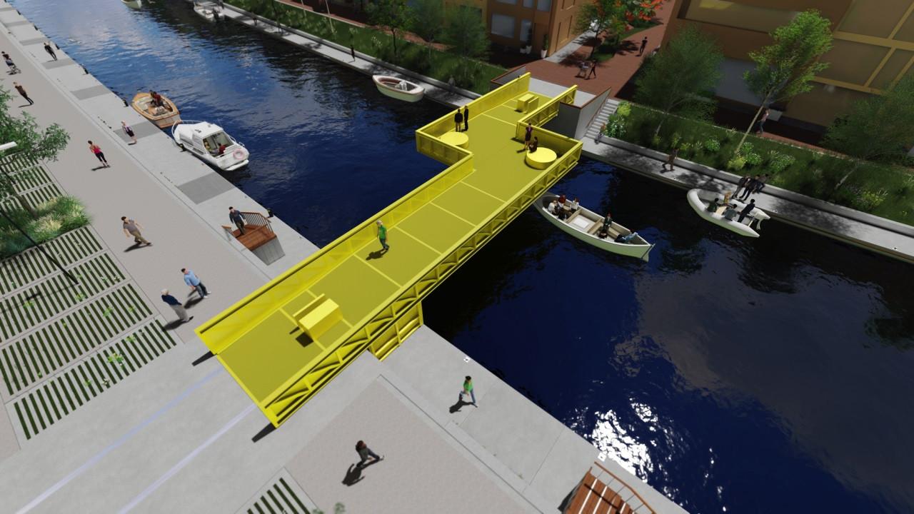 Een artist's impression van de brug die in 2020 over de Vliet geplaatst moet worden. Duidelijk te zien is dat er een knik in zit, met ruimte voor zitjes.
