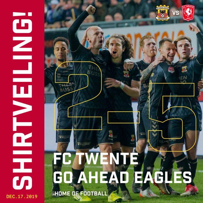 De voetbalshirts die de spelers van GA Eagles droegen in de memorabele bekerkraker tegen FC Twente worden de komende dagen geveild.
