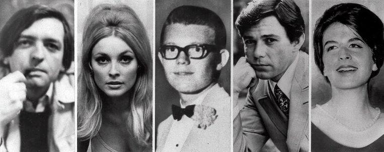 De vijf slachtoffers van The Family op 8 augustus 1969. V.l.n.r. Wojciech Frykowski, Sharon Tate, Stephen Parent, Jay Sebring en Abigail Folger.  Beeld AP