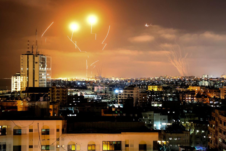 Gaza vuurde tientallen raketten af op Israël. Beeld AFP