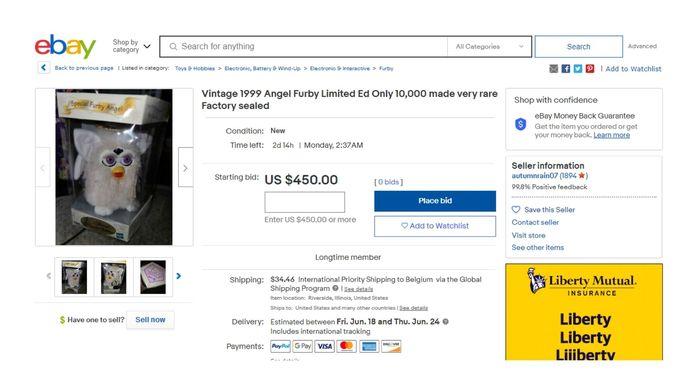 Ce Furby est mis en vente à 450 dollars, soit 371 euros.
