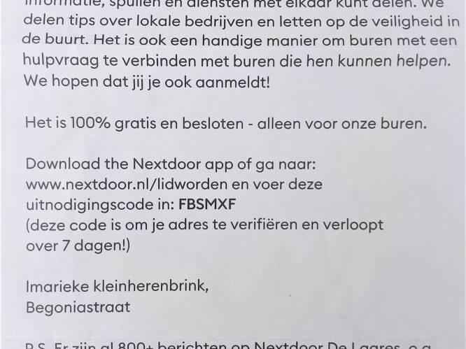 Omstreden wervingsbrief buurtapp Nextdoor duikt op in Enschedese wijk De Laares