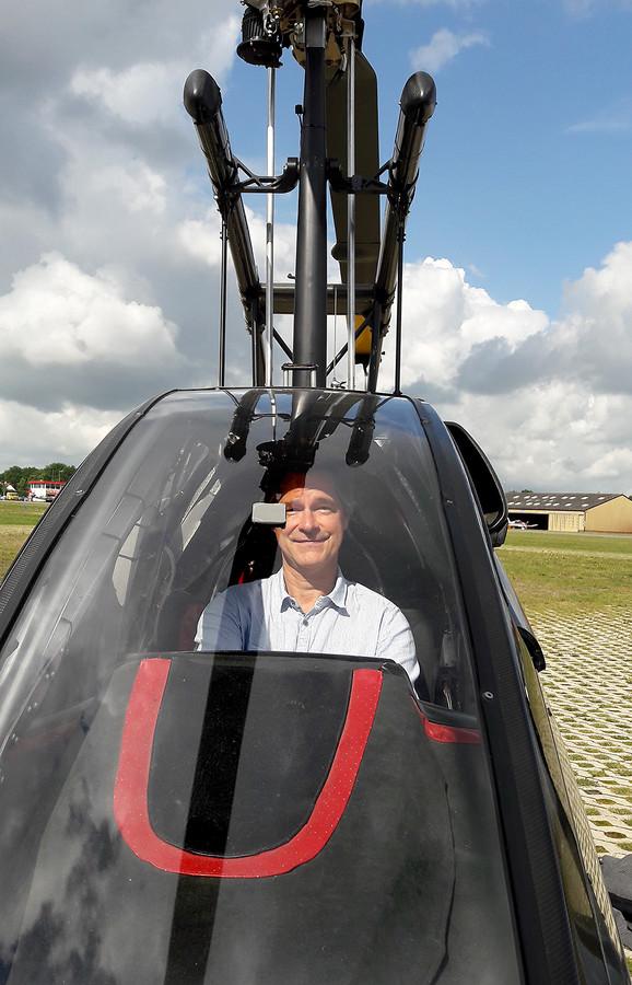 Verslaggever Berry van der Heijden in de gyrocopter.