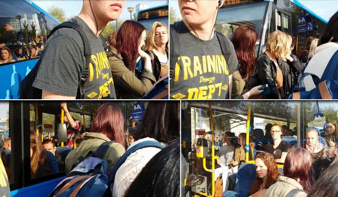 Beelden uit de video, waarin te zien is dat de bus langs de rug van wachtende reizigers schuurt.