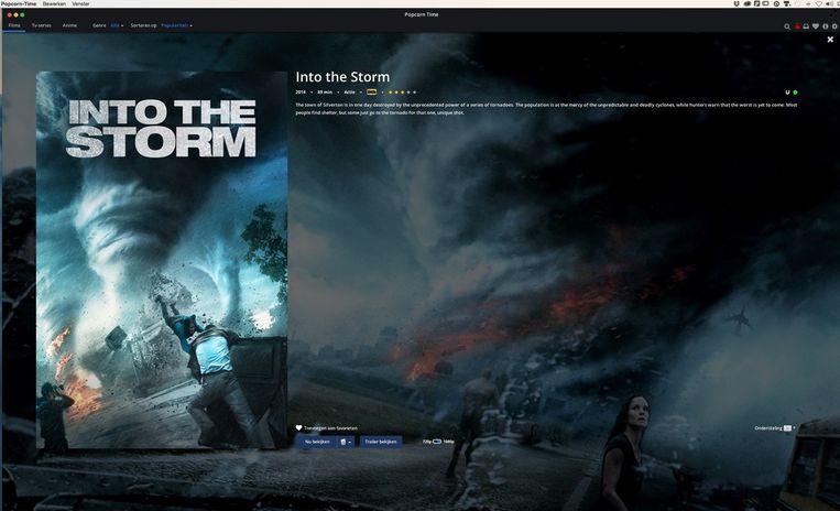 Een pagina in Popcorn Time voor de rampenfilm Into The Storm. Beeld Volkskrant
