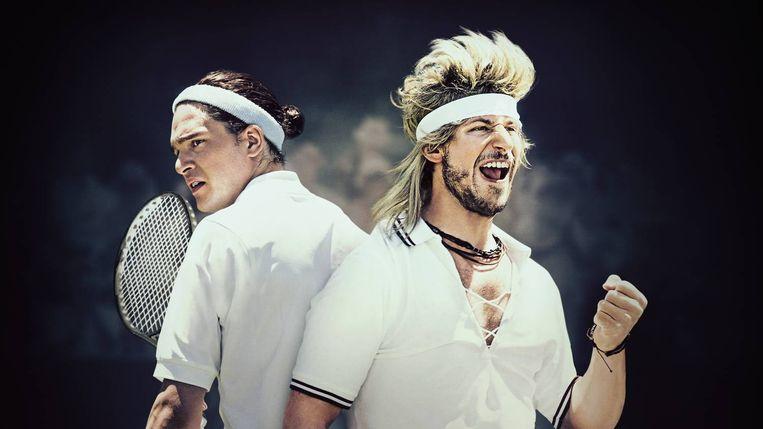 Beeld uit de Wimbledonparodie '7 Days in Hell' met Andy Samberg (links) als tennissuperster Aaron Williams en Kit Harington als zijn tegenstander Charles Poole. Beeld