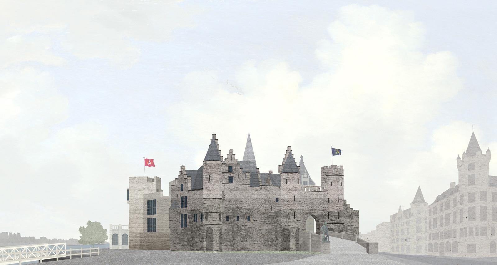 In dit simulatiebeeld is te zien hoe Het Steen er na de restauratie uit zal zien, mét toren en nieuwe aanbouw.