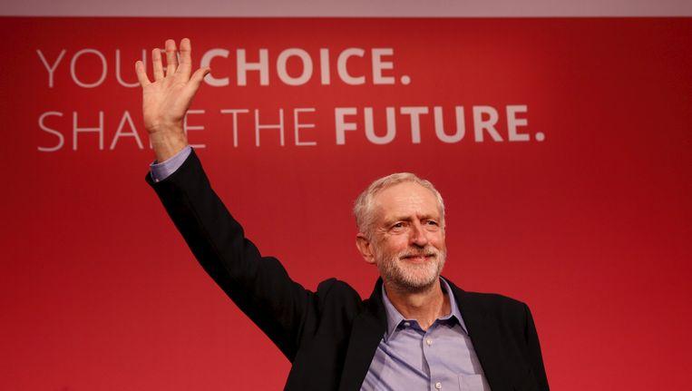 Jeremy Corbyn tijdens zijn verkiezing als nieuwe leider van Labour. Beeld reuters