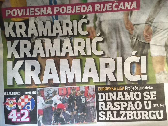 Kroatische krant na het duel tussen Rijeka en Feyenoord.