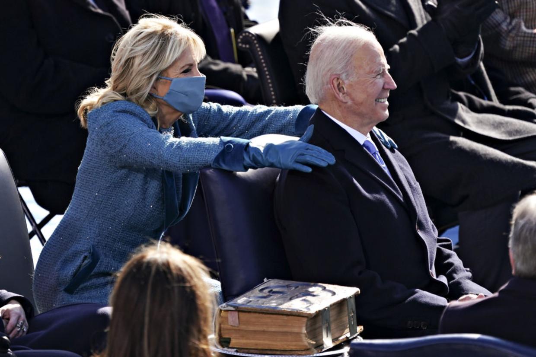 Jill Biden en Joe Biden tijdens de inauguratie Beeld Getty Images