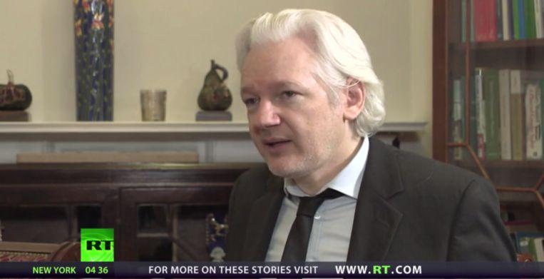 Julian Assange in gesprek met Russia Today Beeld still uit video