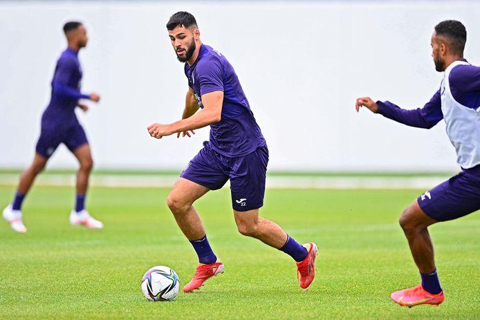 Elias Cobbaut op training bij Anderlecht.