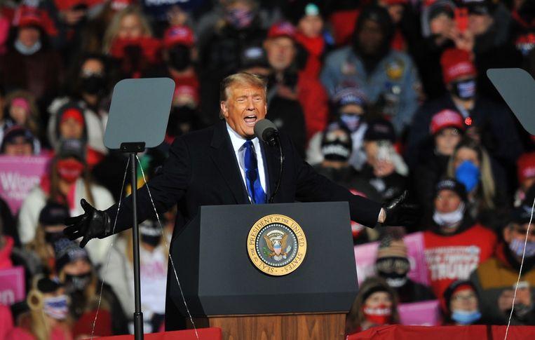 Donald Trump voert campagne in Omaha, Nebraska. Beeld AFP