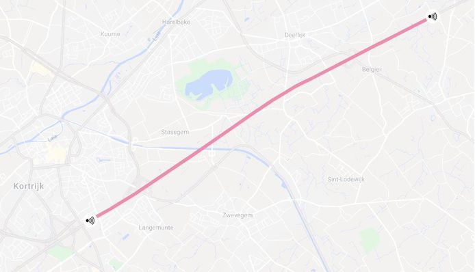 De trajectcontrole op de E17 loopt van Waregem tot in Kortrijk, richting Frankrijk.