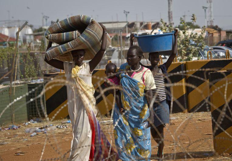 Zuid-Soedanese vluchtelingen in een VN-vluchtelingenkamp in Juba. Beeld ap