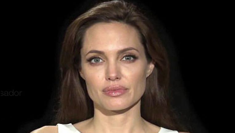 Angelina Jolie in een video van de UNHCR. Beeld Photo News