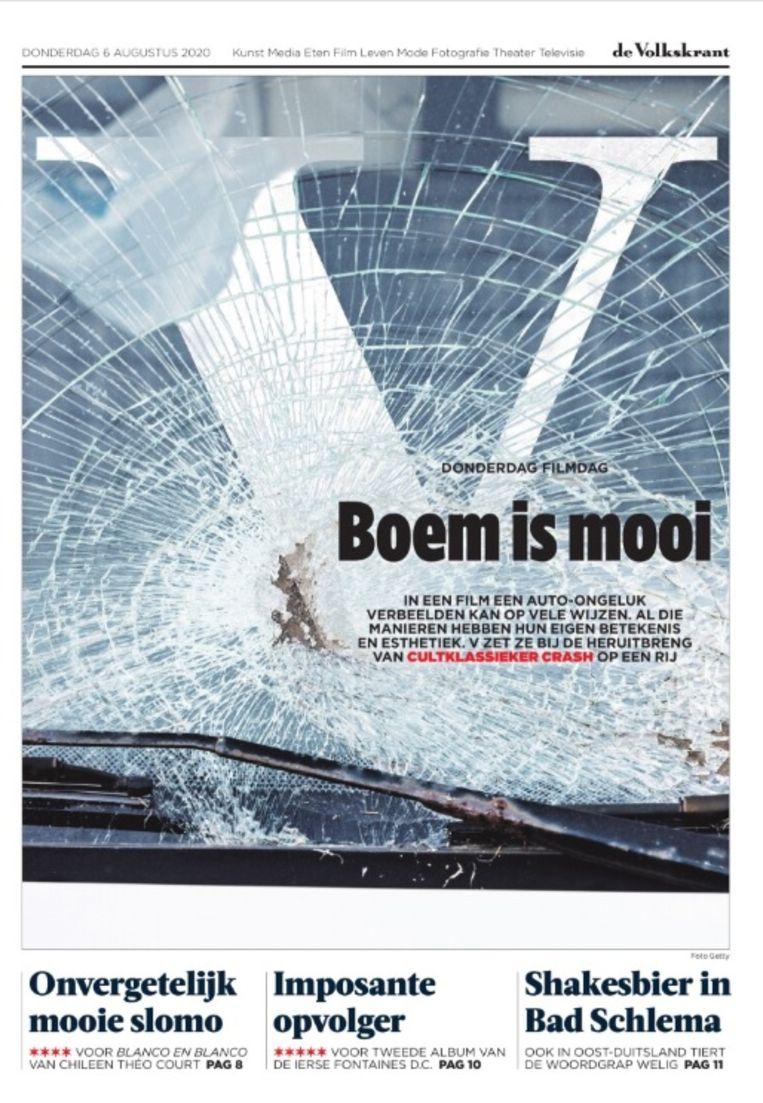 De desbetreffende kop op de voorpagina van het V-katern, donderdag 6 augustus.  Beeld
