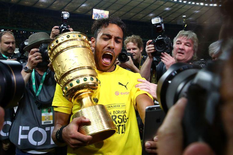 Aubameyang won het afgelopen seizoen nog de DFB Pokal met Borussia Dortmund Beeld Photo News