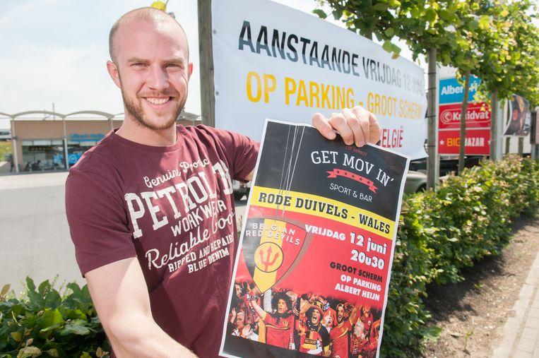 Jasper De Boeck organiseert vanavond een voetbalhappening op de parking van het Frunpark in Bevere.