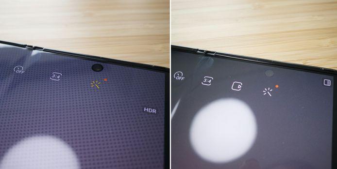 De selfiecamera onder het scherm van de Samsung Galaxy Z Fold 3 die tevoorschijn komt bij gebruik.