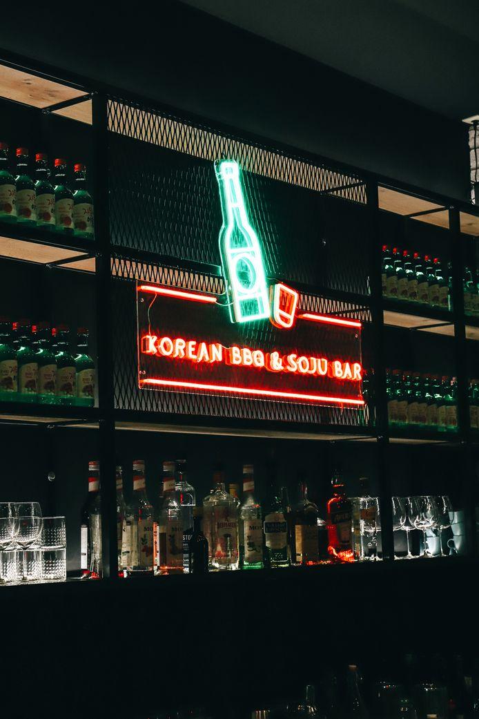 Le bar à Soju, spiritueux coréen.