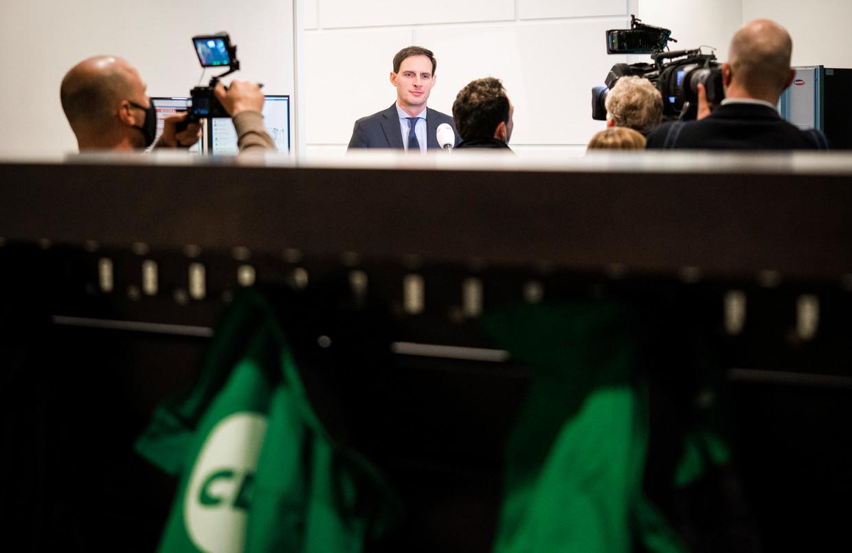 Wopke Hoekstra wordt op het partijbureau gepresenteerd als nieuwe lijsttrekker van het CDA. Beeld Freek van den Bergh