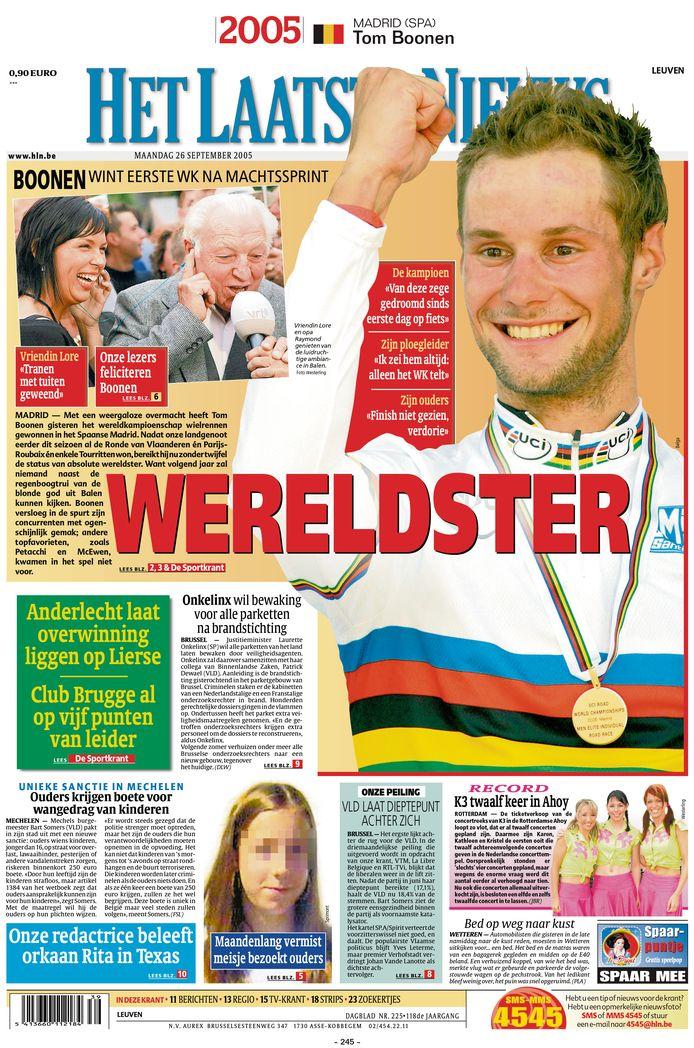 """2005 - De """"blonde god uit Balen"""" siert de voorpagina. 'Tommeke' wordt een absolute wereldster."""
