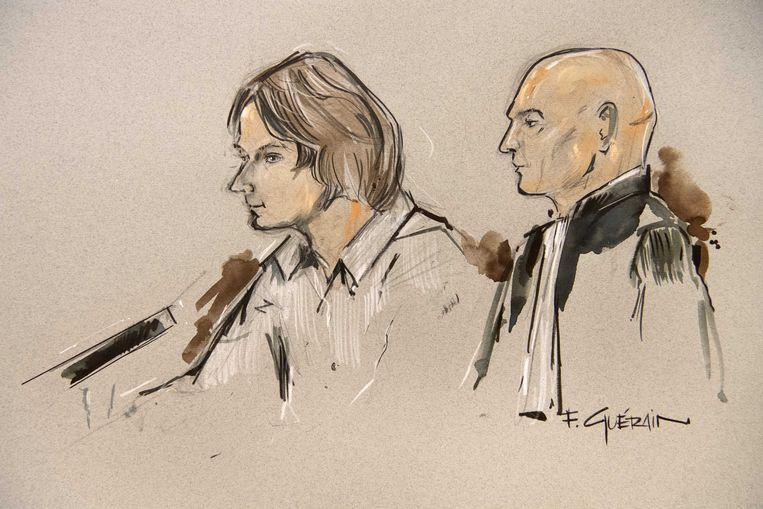 Rechtbanktekening van Thijs H. (L) en zijn advocaat Serge Weening (R) tijdens de pro-formazitting in de rechtbank van Maastricht (augustus 2019). Beeld ANP