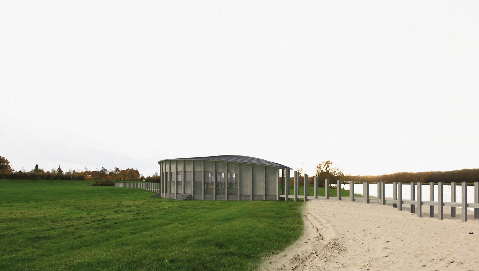 Het paviljoen ontstaat vanuit een steiger en gaat weer over in een steiger.
