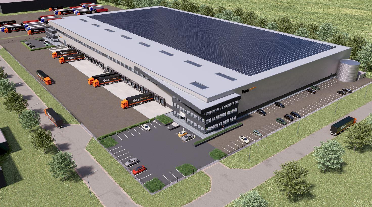 Zo moet het nieuwe distributiecentrum van Vos Logistics op de Geer in Oss er uit komen te zien.