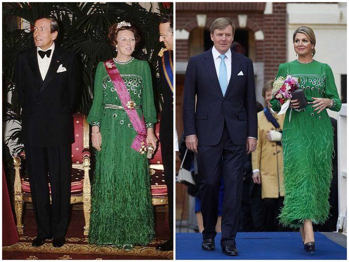 2014: Maximá draagt een groene avondjurk van haar schoonmoeder.