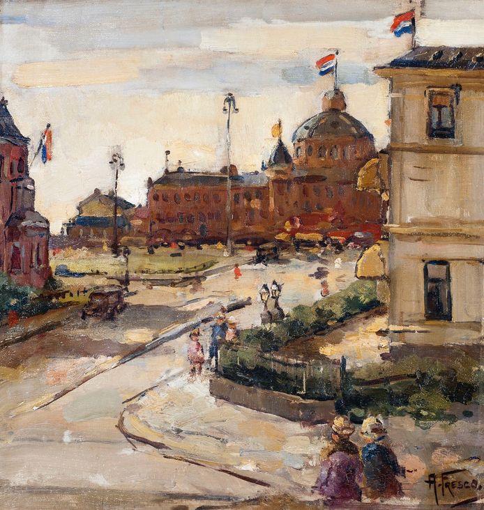 Koninginnedag in Scheveningen, ongedateerd. Werk van Abraham Fresco (Den Haag 1903-1942 Auschwitz).