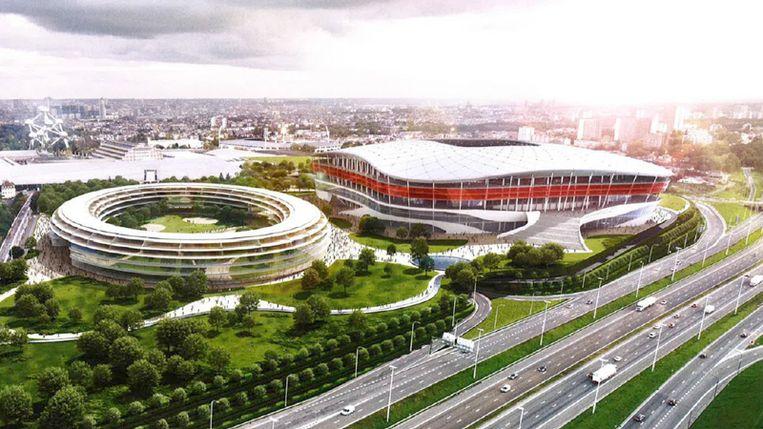 Wie heeft ooit verzonnen dat een stadion niet thuishoort langs een drukke ringweg? Grote stadions liggen altijd langs ringwegen. Beeld Swa Van Damme