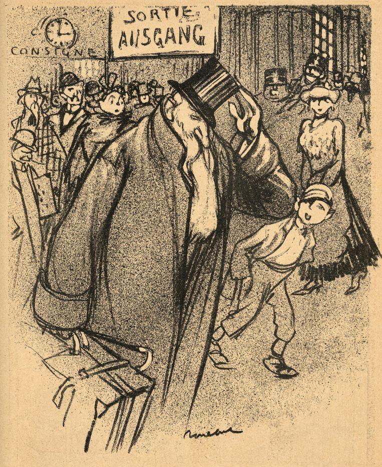 Leopold II komt aan in de Gare du Nord, karikatuur van posterkunstenaar Francisque Poulbot, 1907. Beeld privéverzameling