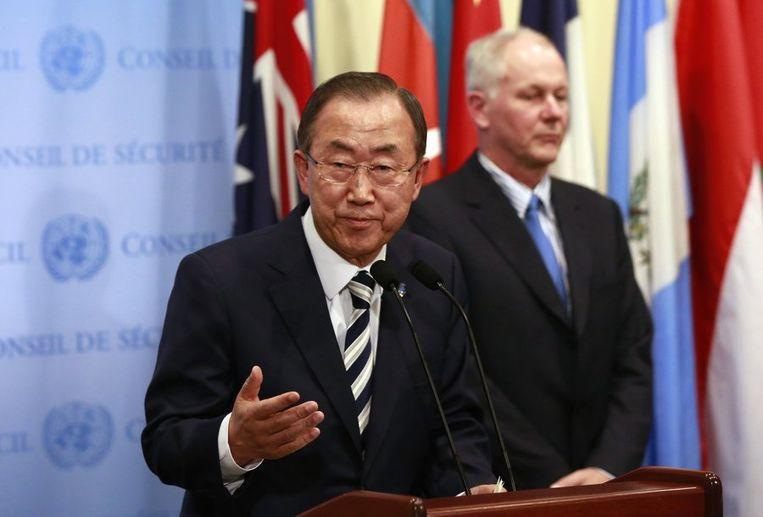 Ban Ki-moon geeft een persconferentie na publicatie van het VN-rapport. Beeld reuters
