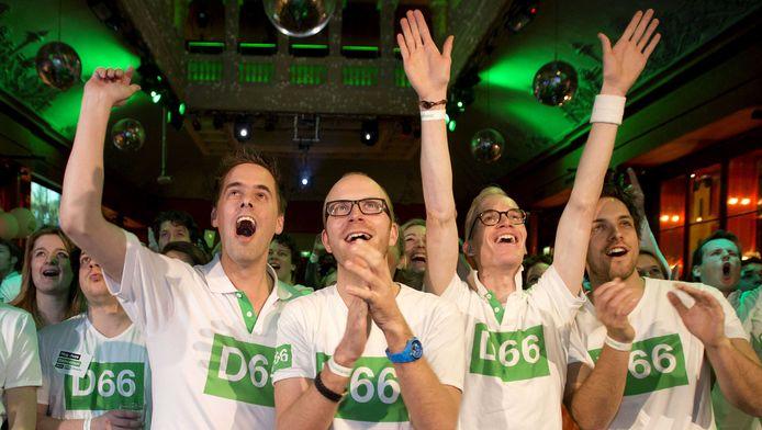 Vreugde bij de aanhangers van D66 in Utrecht.
