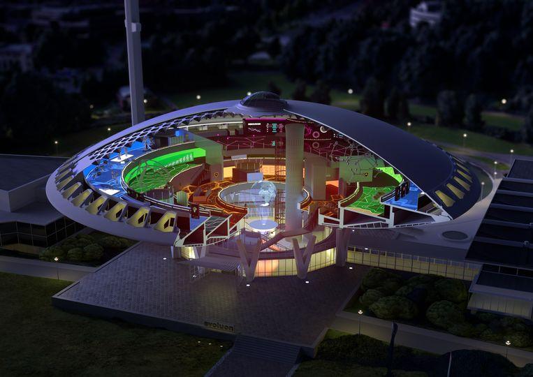 Impressie van het Evoluon in Eindhoven als nieuw Futurelab, zoals het de komende vier jaar vorm moet krijgen. Beeld Next Nature Network